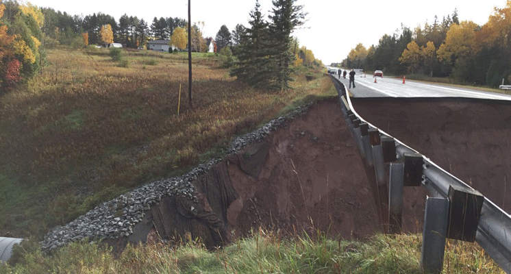 MDOT photos show 35-foot hole in highway caused by Upper Peninsula flooding