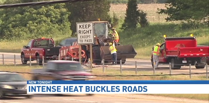 Heat causes SB US-31 to buckle in Grand Haven