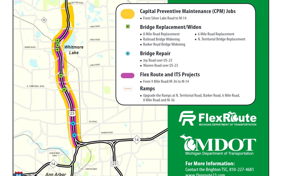 Mdot To Launch Flex Route On Us 23 To Ease Rush Hour Traffic - Us-23-map