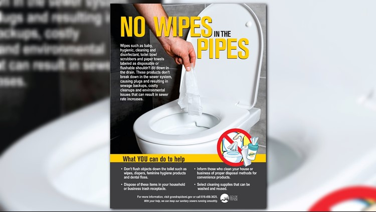 DON'T FLUSH THAT! Grand Rapids city officials urge 'No Wipes in the Pipes.'