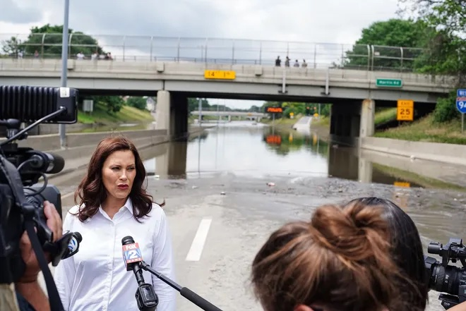 Gov. Whitmer calls for action on climate change, infrastructure while on flood tour
